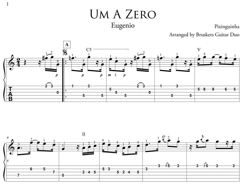 um a zero fragment by Bruskers Guitar Duo